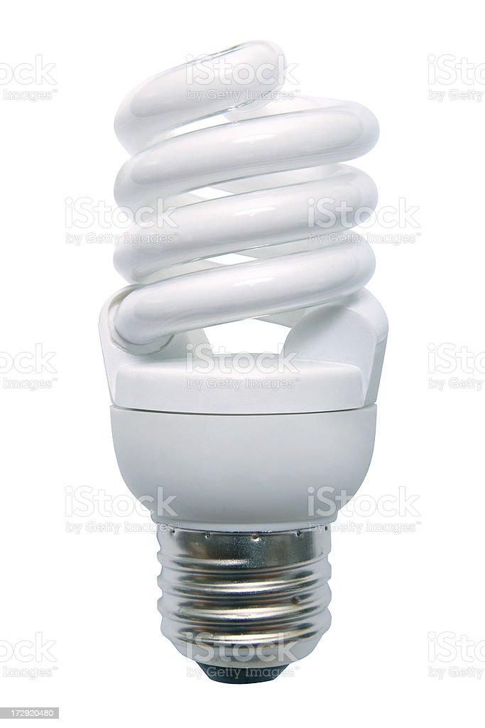 Energy Efficient Fluorescent Light Bulb stock photo