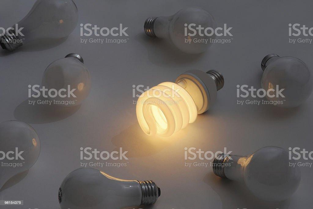 에너지 효율적인 형광등 전구 royalty-free 스톡 사진