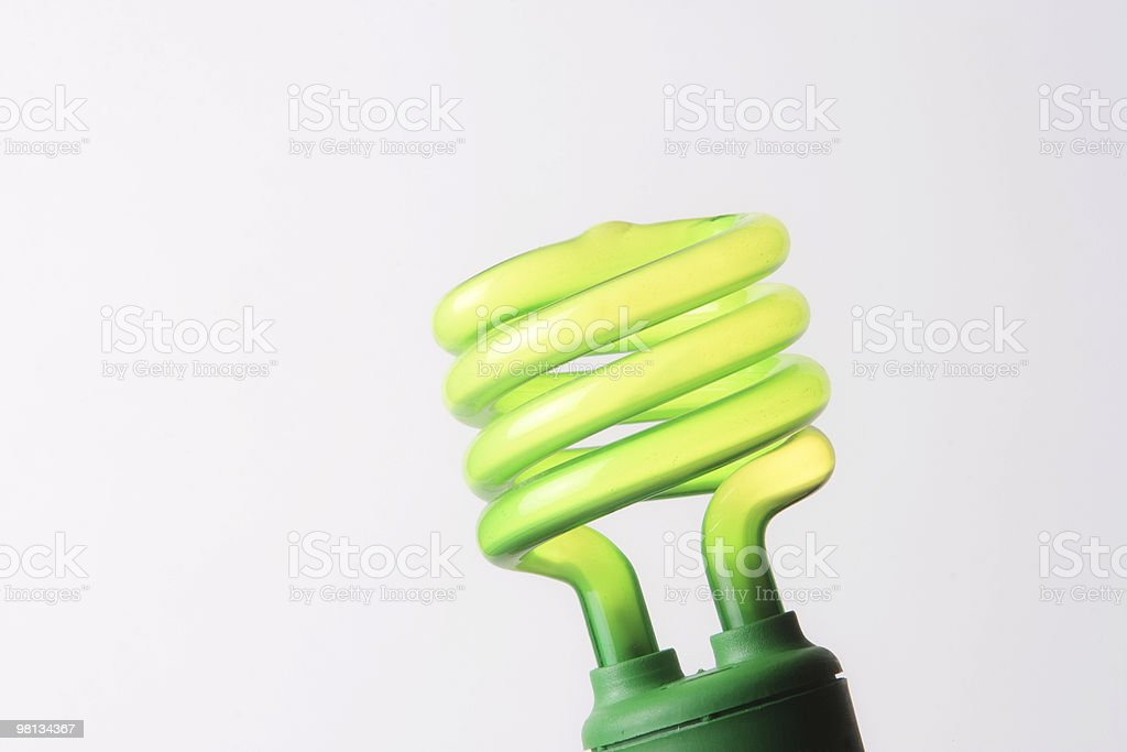 Energy efficient, ''green'' florescent light bulb royalty-free stock photo