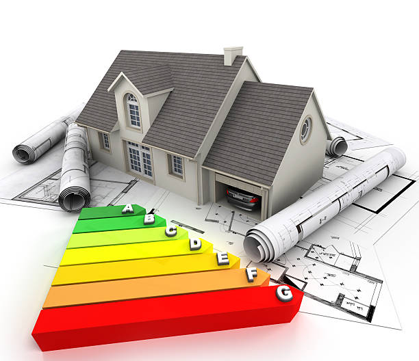 energy efficient home construction - energy performance certificate stock photos and pictures
