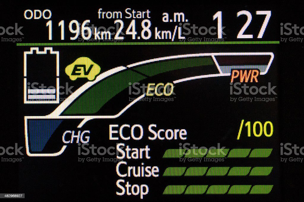 energy efficient hybrid car display panel stock photo
