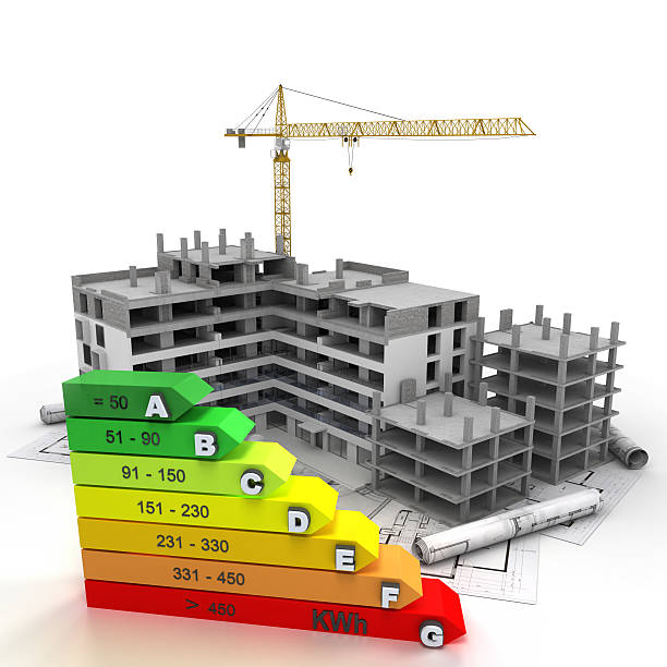 energy efficient rated construction site - energy performance certificate stock photos and pictures