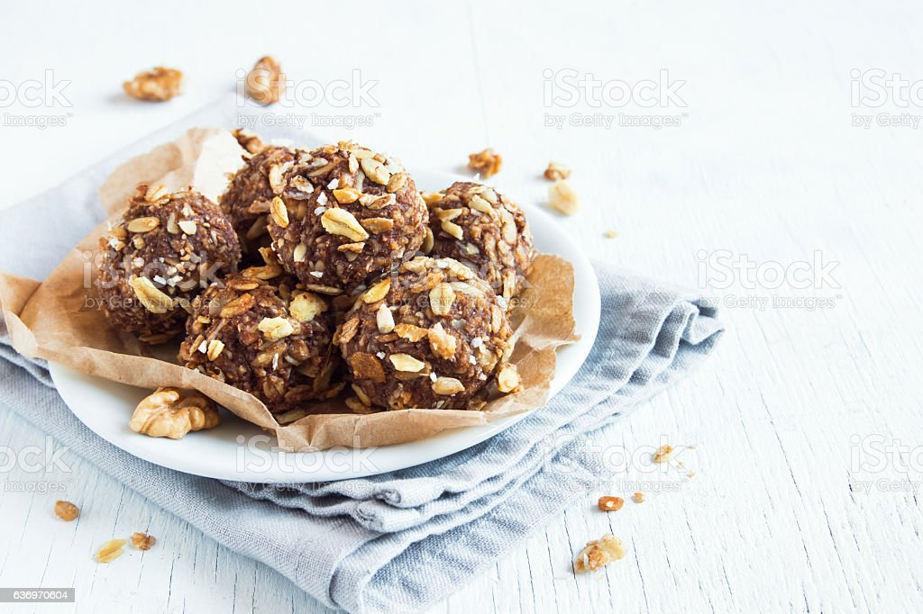 energy granola bites stock photo