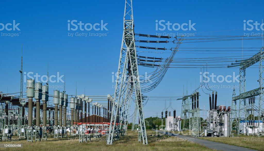 Energy Industry: Electrical substation stock photo