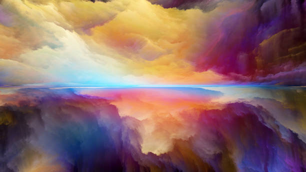 Energy of Abstract Landscape Dream Land series. Design composed of digital colors as a metaphor on the subject of Universe, Nature, landscape painting, creativity and imagination saturated color stock pictures, royalty-free photos & images
