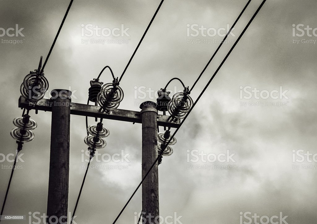 Energy - old Power Lines by storm royalty-free stock photo