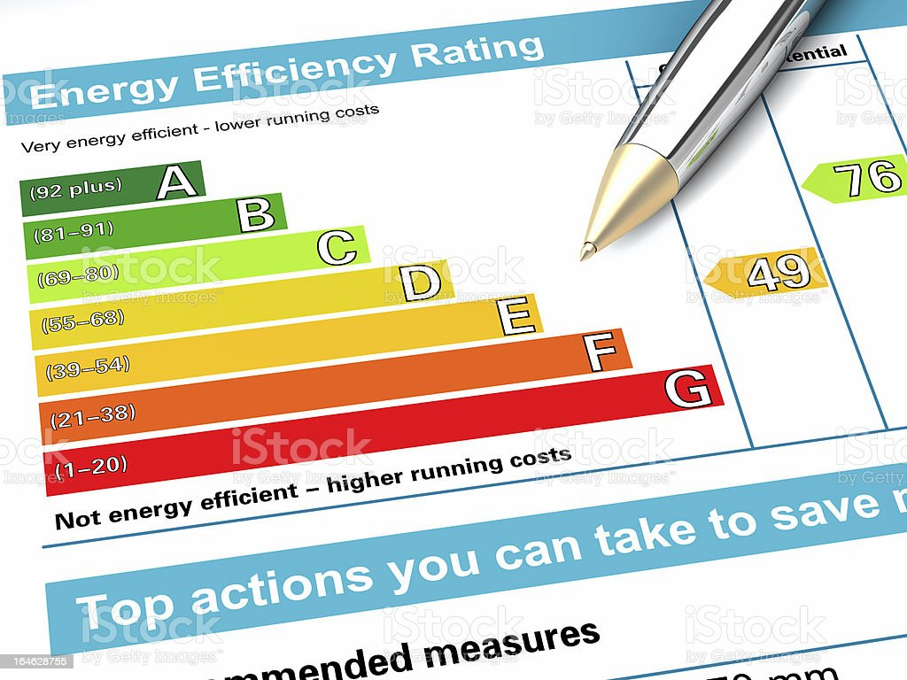Energy performance certificate stock photo