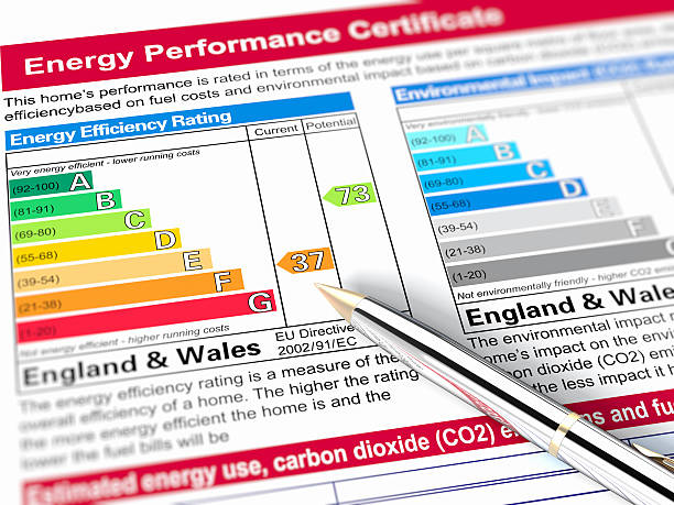 energy performance graph for england and wales - energy performance certificate stock photos and pictures