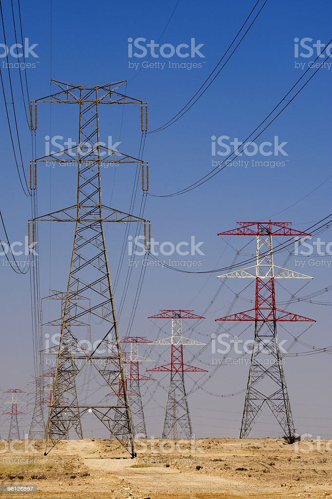 Energy, power in the Qatar desert royalty-free stock photo