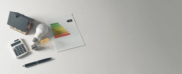 Energy rating chart, efficiency concept banner stock photo