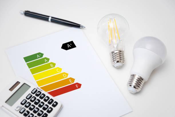 Energy rating chart, energy efficiency stock photo