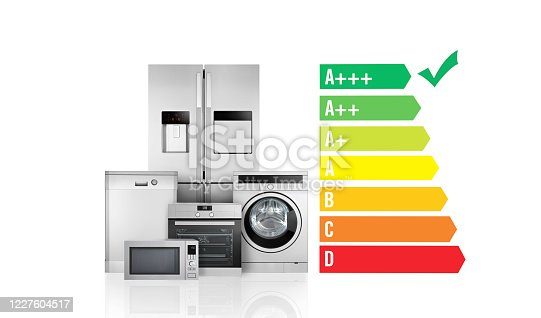 Energy Efficiency Diagram and stainless steel appliances on white background