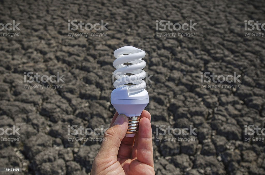 energy saving lamp in hand royalty-free stock photo