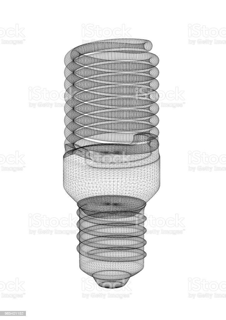 Energy Saving Light Bulb Architect blueprint zbiór zdjęć royalty-free