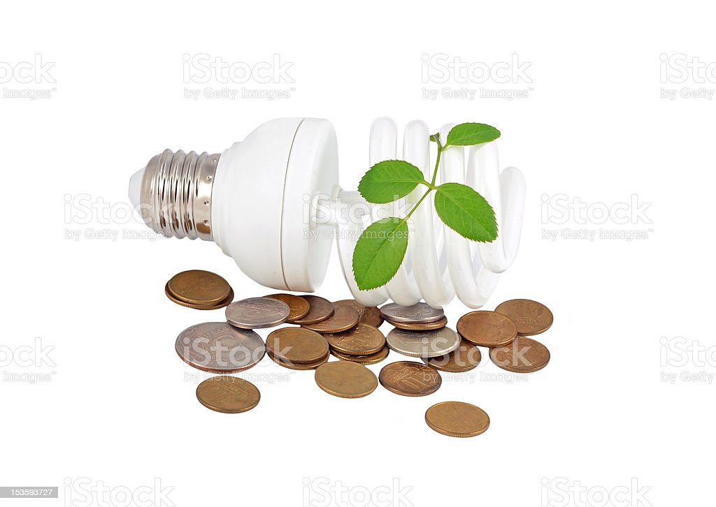 Energy saving light bulb, money and plant royalty-free stock photo