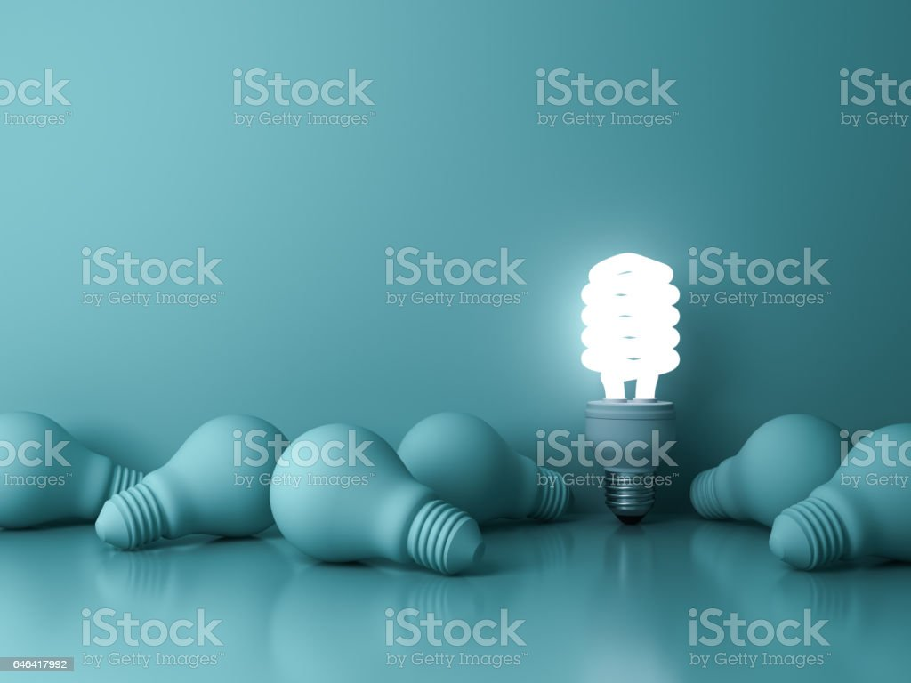 Energy saving light bulb , one glowing fluorescent lightbulb standing out from dead incandescent bulbs on green background , individuality and different creative idea concepts stock photo