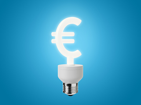 Energy Efficient Euro Sign Light Bulb on a Blue Background