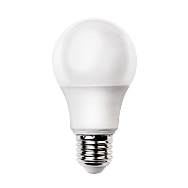 energy saving light White opaque round energy saving light bulb isolated on white background canadian football league stock pictures, royalty-free photos & images