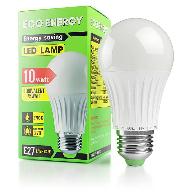 Energy savings modern LED lamp in packing box – Foto