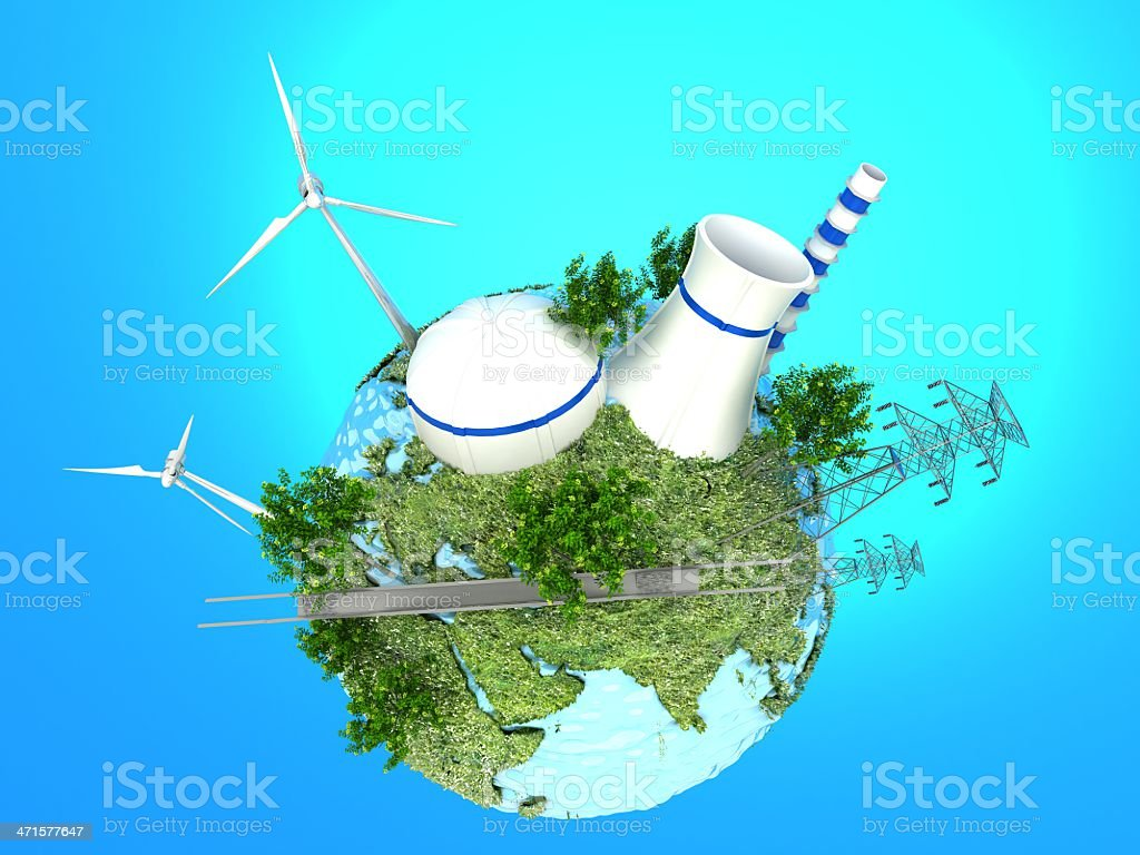 Energy Sources on the Green Earth royalty-free stock photo