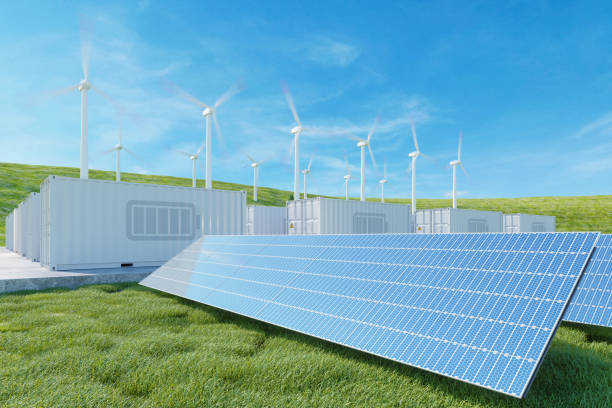 energy storage system. solar panel, wind turbines and li-ion battery container - idrogeno foto e immagini stock