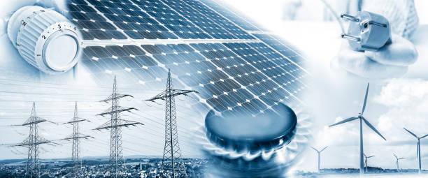 energieversorgung mit strom und gas - solarstrom stock-fotos und bilder