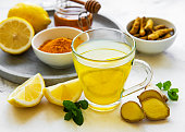 istock Energy tonic drink with turmeric, ginger, lemon and honey 1278907630