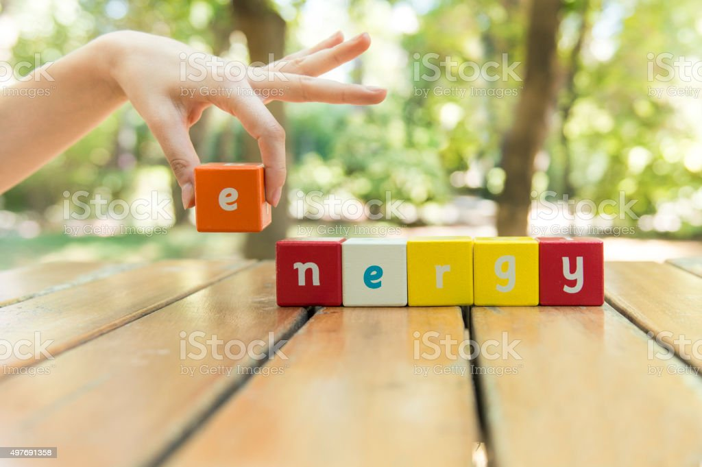 Energy, word and hand stock photo