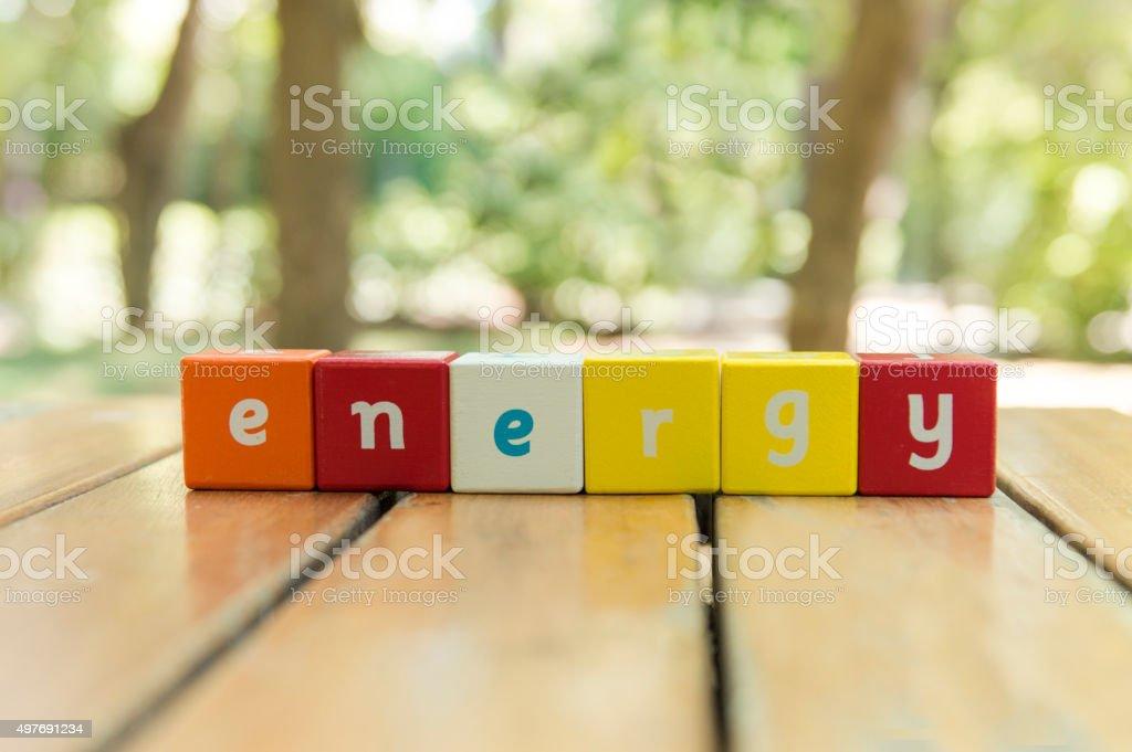 Energy, word stock photo