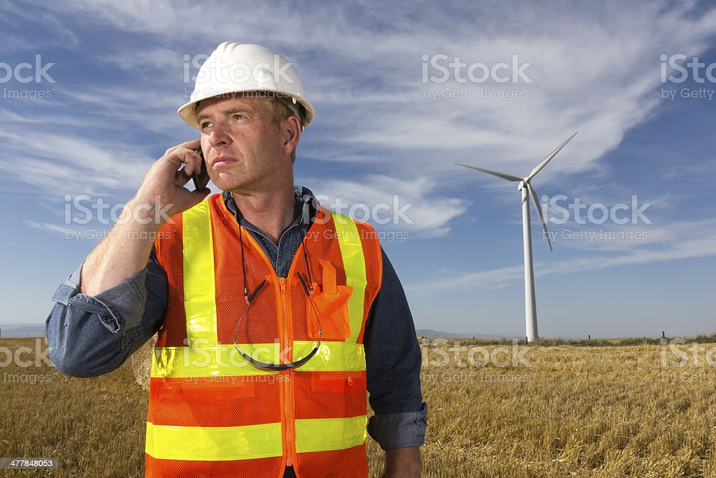 Energy Worker and Phone Call royalty-free stock photo
