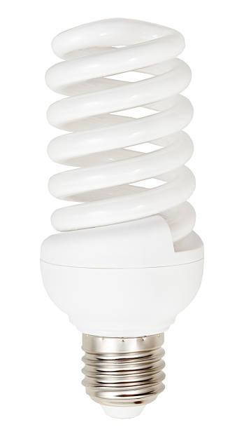 energiesparende schraube kompakte fluoreszierender lampe - glühbirne e27 stock-fotos und bilder