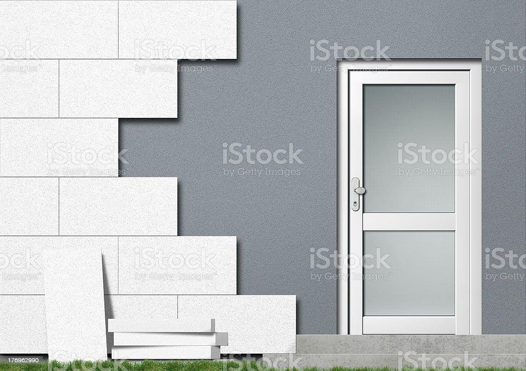 energy-saving insulation of a house facade royalty-free stock photo