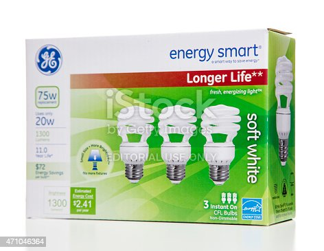 Miami, USA - April 4, 2015: GE energy smart longer life soft white CFL 3 instant-on non-dimmable bulbs box. GE brand is owned by General Electric Company.