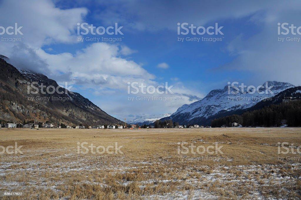 Engadin snow Alps valley in Switzerland Sils Maria village stock photo