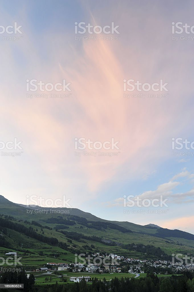 Engadine Valley at sunset royalty-free stock photo