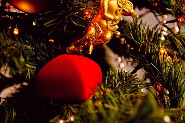 Compromiso en Navidad tiempo - foto de stock