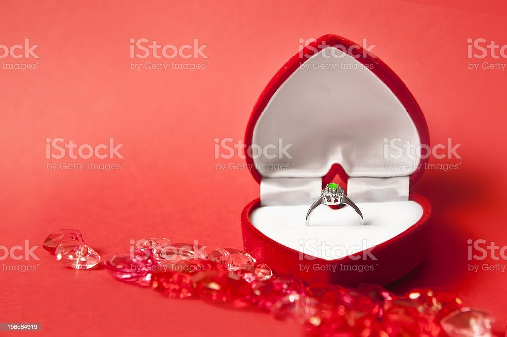 Engagement composition on red royalty-free stock photo