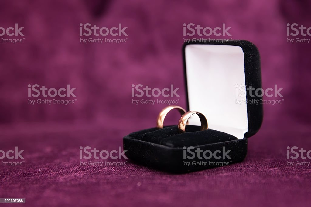 Engagement gold rings stock photo