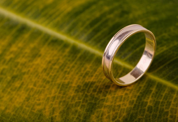 Engagement gold wedding ring stock photo
