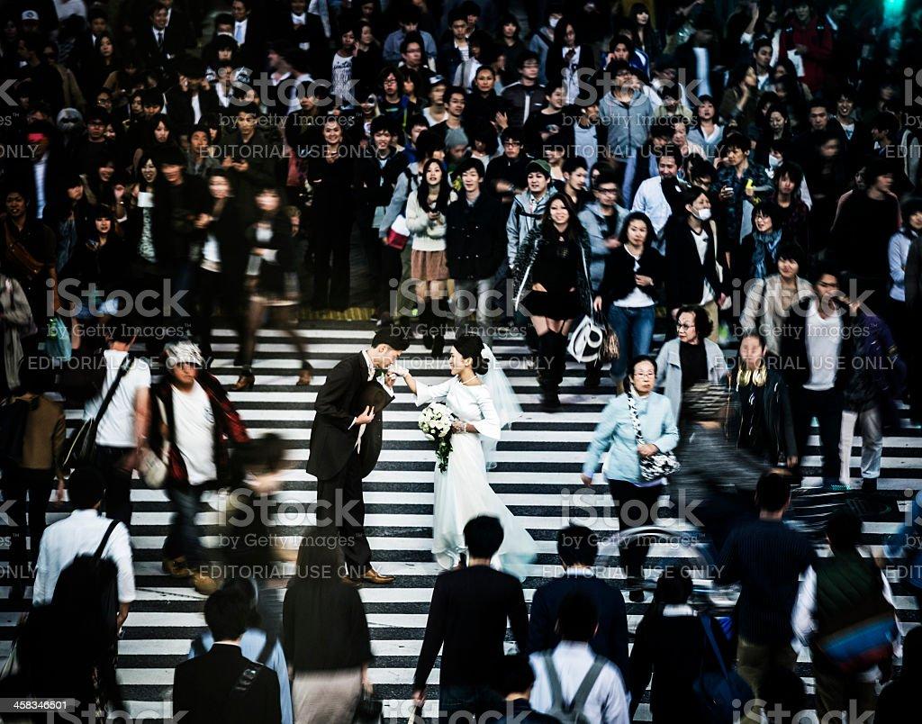 Engagement in Shibuya Crossing Tokyo Japan stock photo