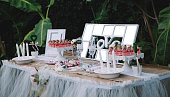 Engagement, wedding party table design front of banana leaves.