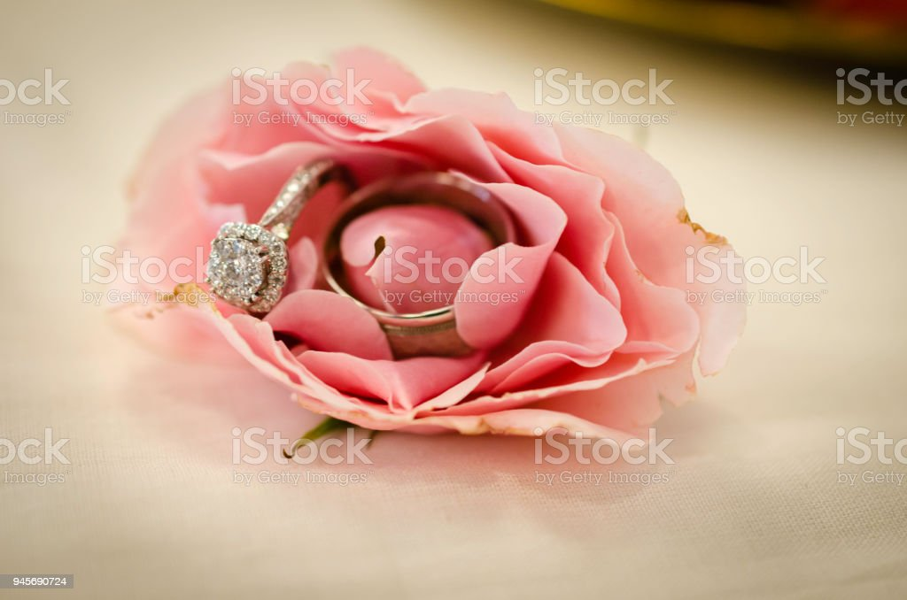 Engagement Ring And Wedding Band Inside A Rose Stock Photo Download Image Now Istock