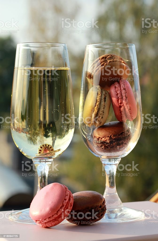 engagement ring in a glass of champagne stock photo
