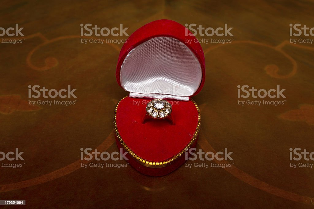 engagement ring in red box royalty-free stock photo