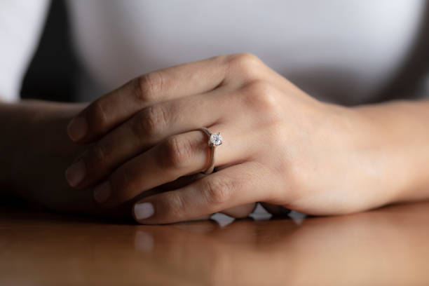 engagement ring - diamond ring hand stock pictures, royalty-free photos & images