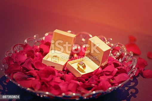 istock Engagement ring with flower 697353824
