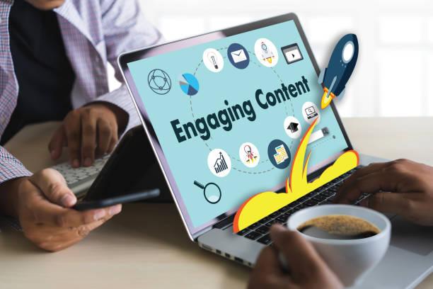 engaging  content marketing data blogging media publication information vision content concept - inbound marketing imagens e fotografias de stock