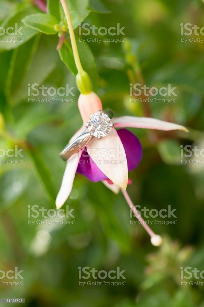 Engagment ring on fuchsia cascade royalty-free stock photo