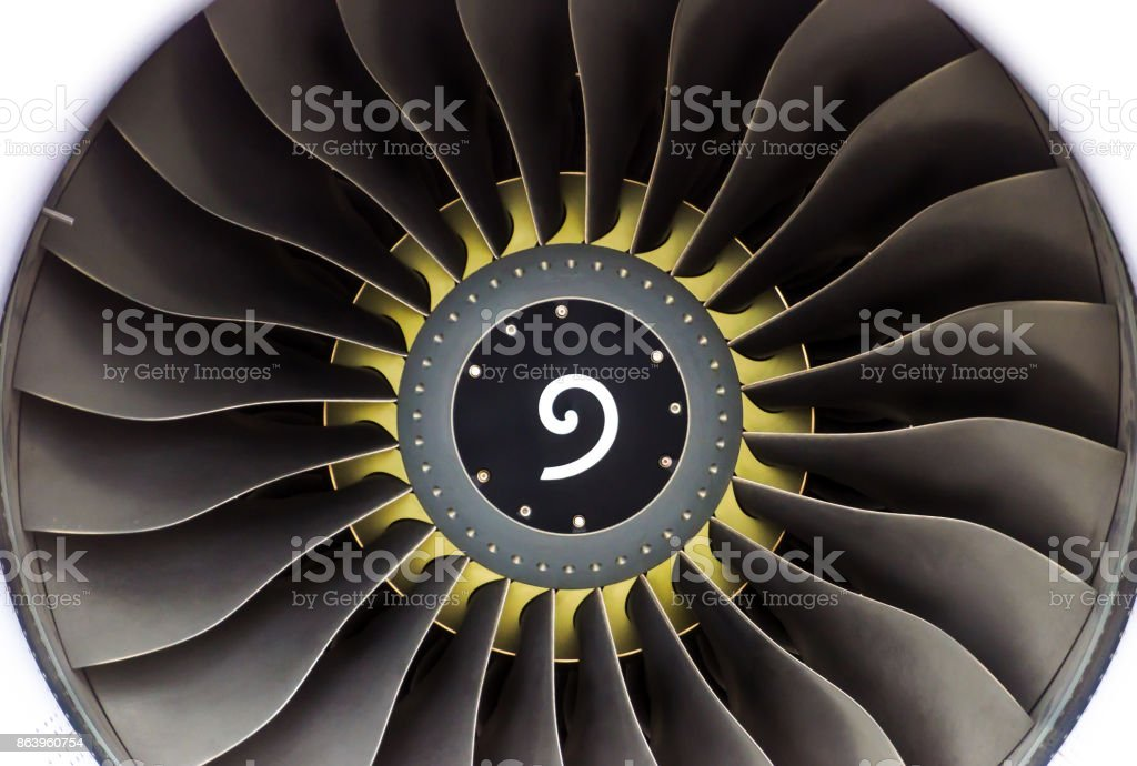 Engine aircraft with blades close-up with a yellow circle near the center. stock photo