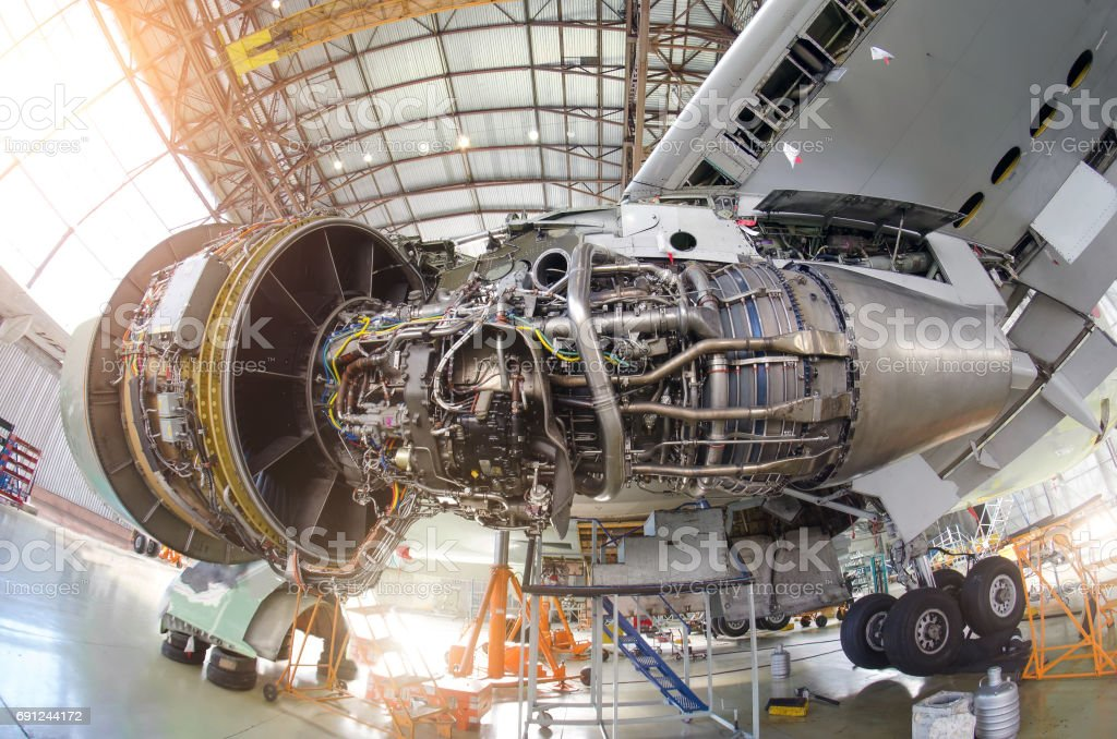 Engine aircraft without a hood, for repair, inspection. stock photo
